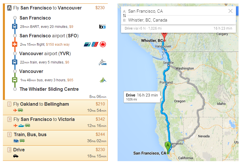 Rome2rio (left) and Google Maps (right) search results from San Francisco to Whistler