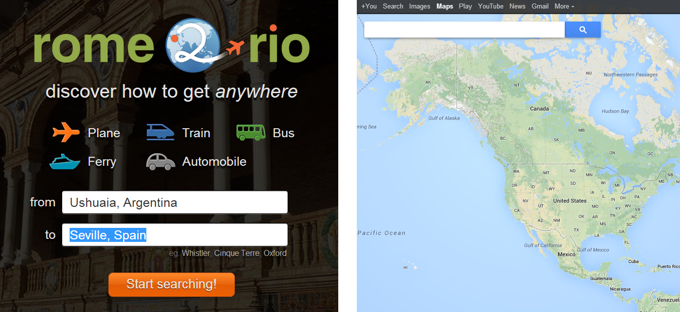 Rome2rio (left) is marketed as a travel search product which Google Maps (right) is a mapping product