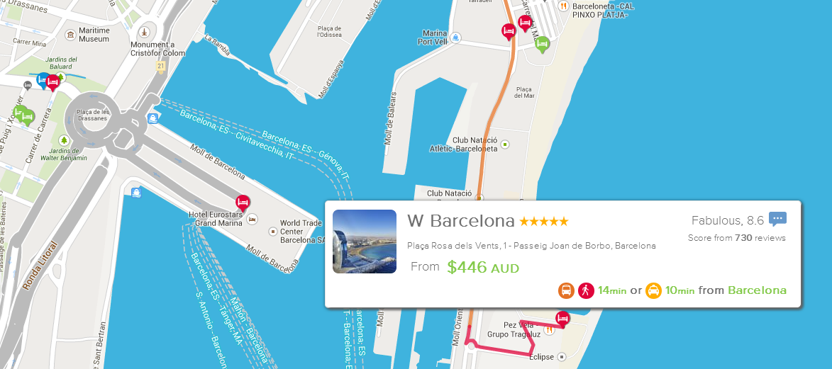 W Barcelona is a more appealing choice knowing that it's a 14min bus or 10min taxi from the centre of town