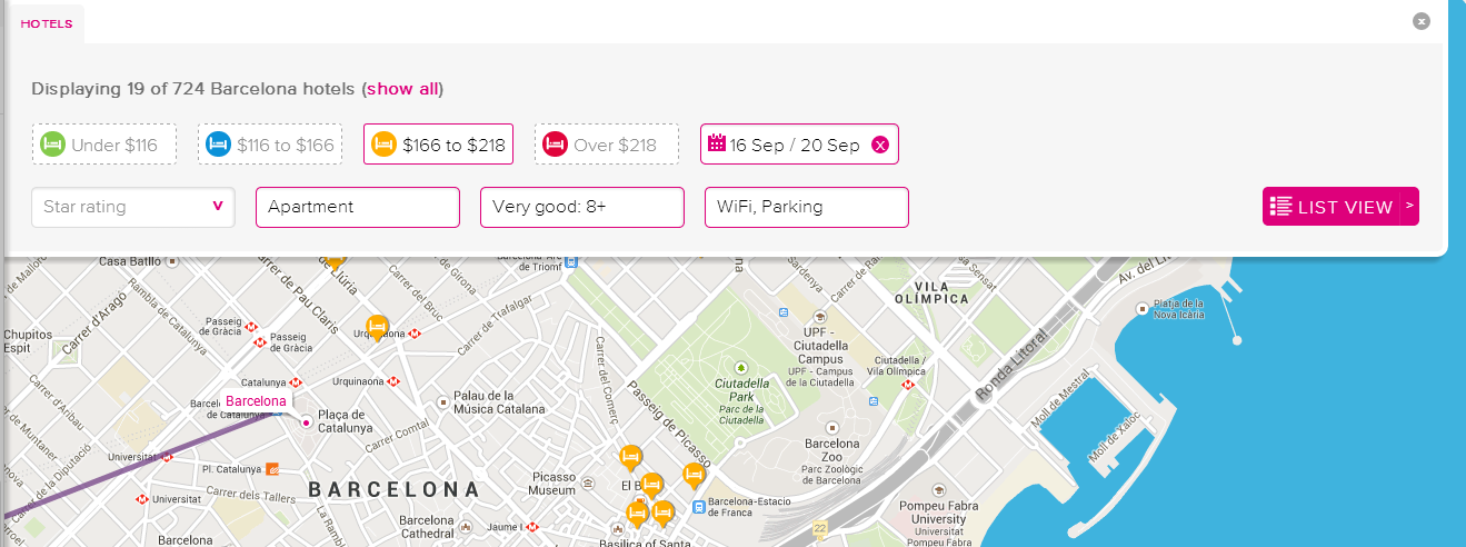 It's now easy to only view apartments with an 8+ rating, WiFi and parking