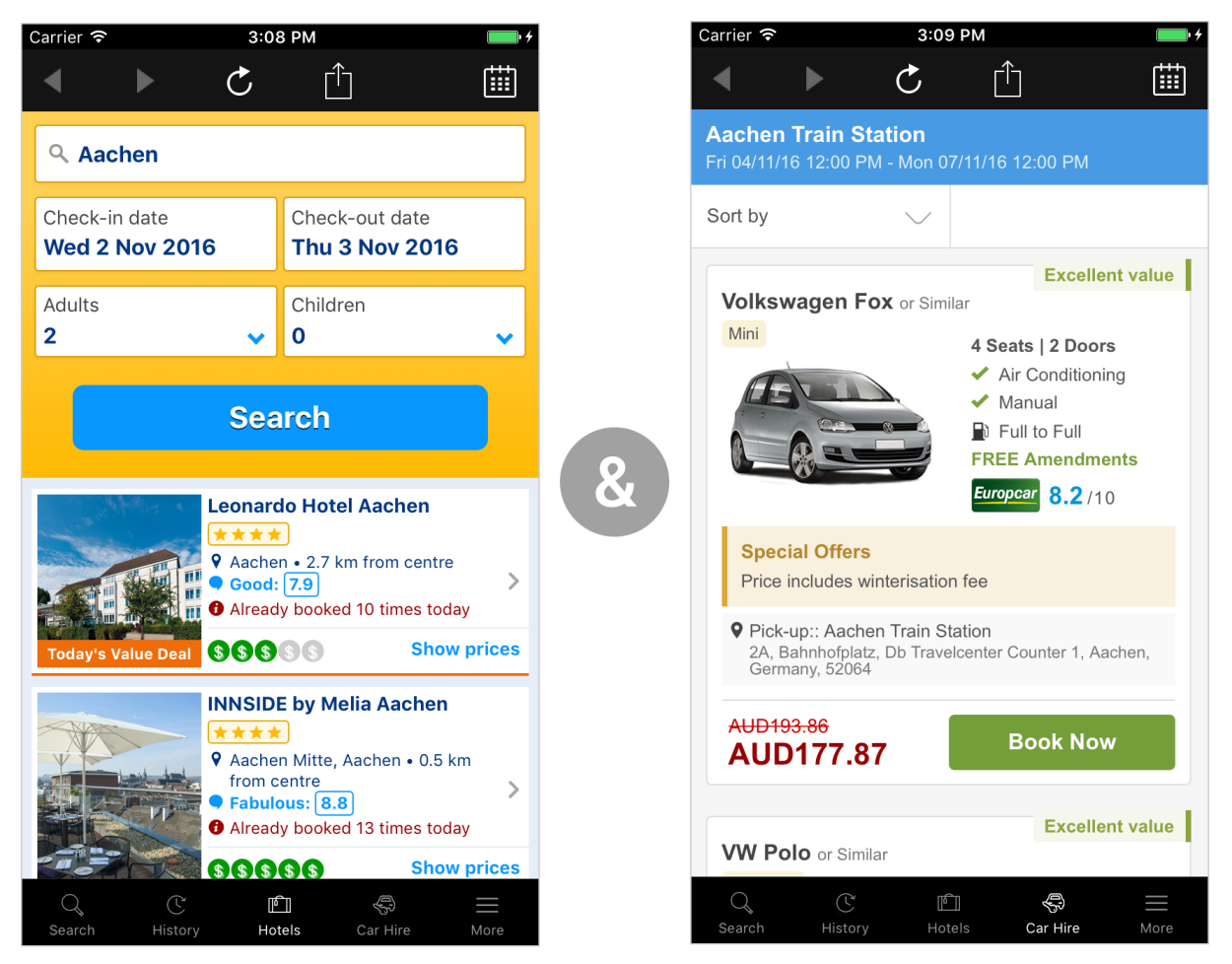 Rome2rio hotels and cars in iOS app