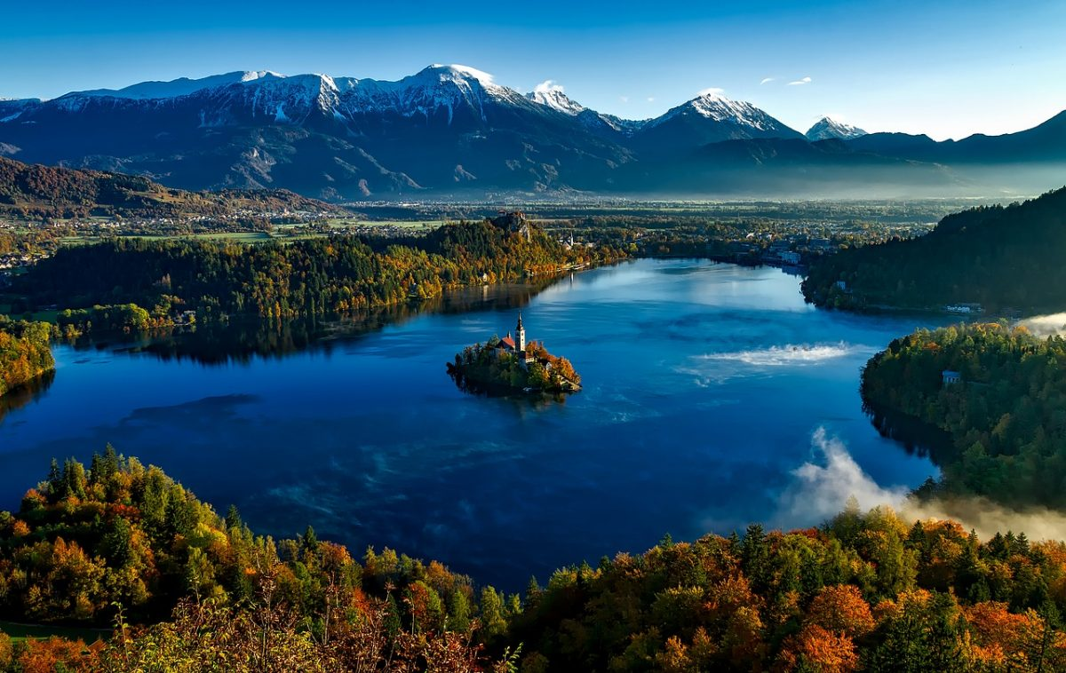 Bled Island in the middle of the picturesque Lake Bled, Slovenia