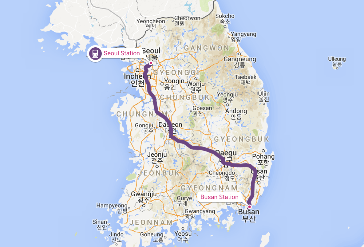 Seoul to Busan train route map, South Korea