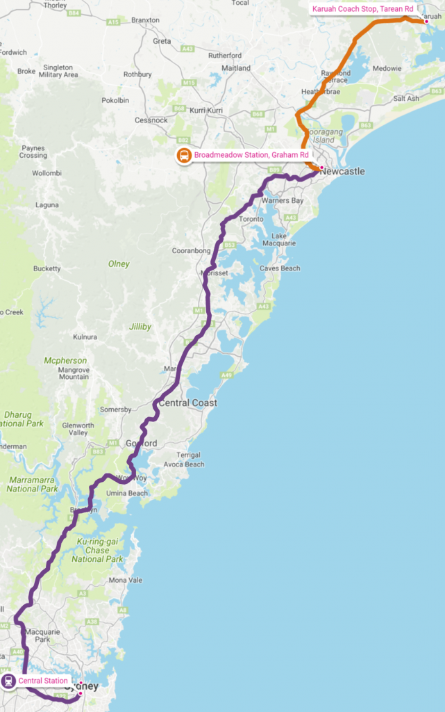 sydney karuah journey map