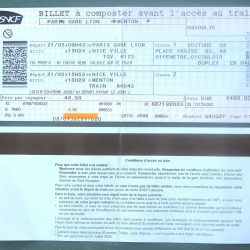 image of SNCF paper ticket