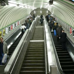 London Underground escalator stand on right