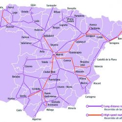 Renfe train route map Spain