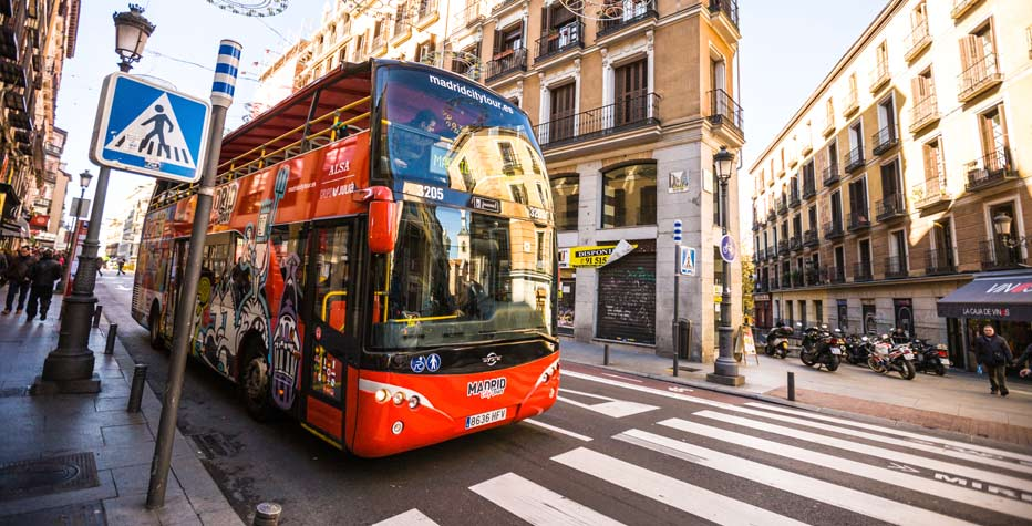 ALSA bus at a stop in Spain